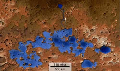 Topographic map lake on Mars
