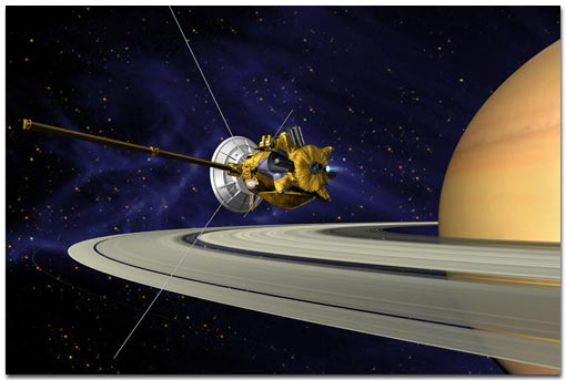 Cassini orbit insertion at Saturn