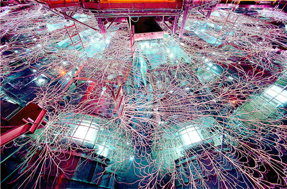 Electrical discharges (Lichtenberg figures) illuminate the surface of the Z machine at Sandia labs.