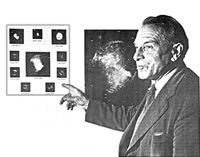 C. E. R. Bruce indicating examples of planetary nebulae which are clearly not simply expanding shells around a central star. Courtesy of E. Crew.