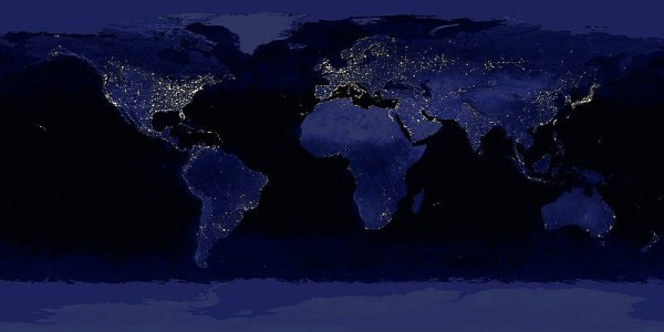 Composite image of the Earth at night.
