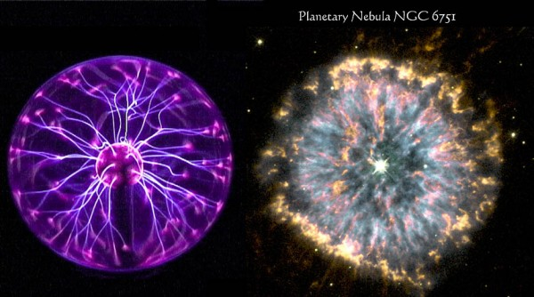 Plasma ball and planetary nebula NGC 6751.