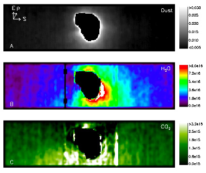 Comet Tempel 1 Infrared spectrometer results.