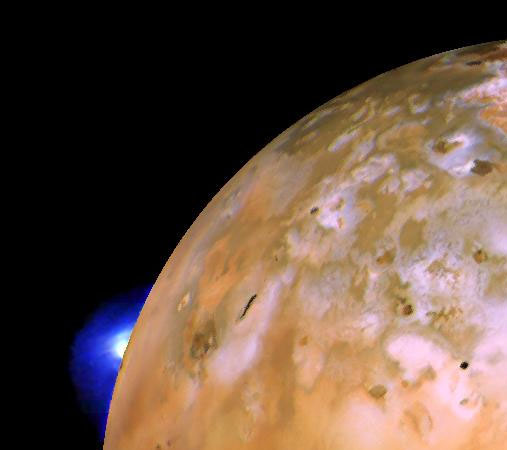 This Voyager 1 image of Io shows the active 'volcanic' plume of Loki on the limb.