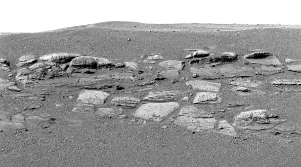 Martian rocky landscape from Opportunity