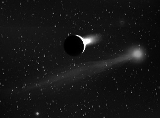 A montage of Enceladus and a comet to emphasize the unexpected similarity of the composition of their jets.