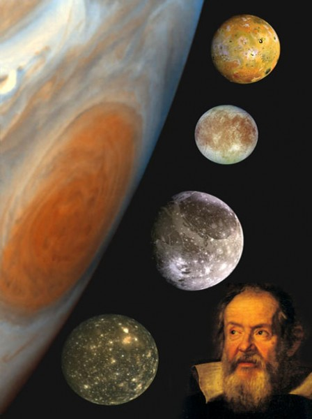 Galileo and the four large moons of Jupiter, which he discovered with his telescope.