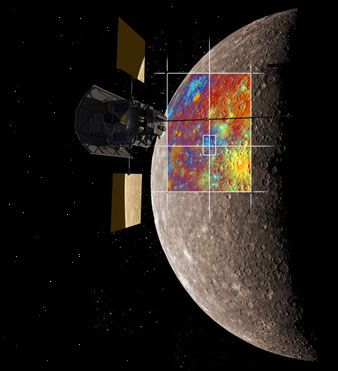 Artist's impression of MESSENGER over Mercury