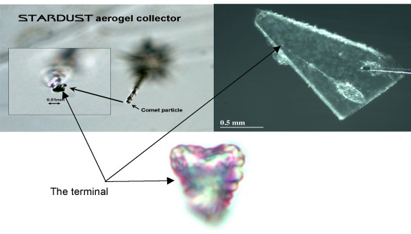 From the Stardust mission, a heart-shaped comet particle extracted from aerogel.