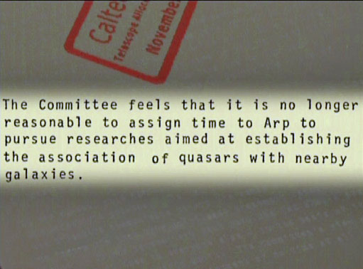 Excerpt from the letter from the telescope allocation committee barring Arp from access to telescopes.
