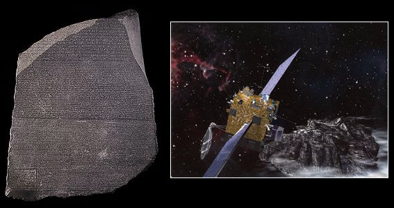 Rosetta stone and space mission