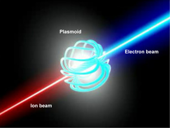 This image shows the form of the plasmoid at the center of the galaxy (and the particle jets created when the magnetic field begins to collapse).